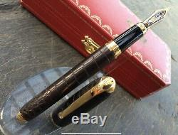 Cartier Louis Dandy Crocodile Brown Leather x Gold Limited Edition fountain pen