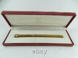 Cartier Vendome 18k Gold Plate Ballpoint Oval Pen France Excellent FREE SHIPPING
