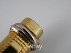 Cartier Vendome Oval Gold Plated Grid Ballpoint Pen FREE SHIPPING WORLDWIDE