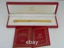 Cartier Vendome Oval Gold Plated Pinstripe Ballpoint Pen with Box FREE SHIPPING
