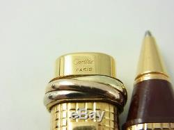 Cartier Vendome Oval Gold Plated and Bordeaux Resin Grid Ballpoint Pen (used)