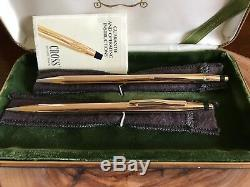Cross 14k Solid Gold Vintage Ball Pen and Pencil Set NEW IN BOX