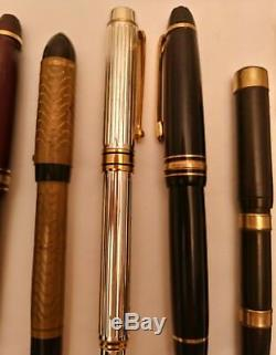 Lot of 9 Vintage Fountain & 1 Vintage Ballpoint Pens, Incl. Waterman, Montblanc