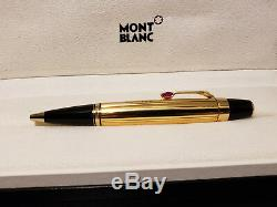 MONTBLANC Boheme Rouge Red Stone Gold Plated Ballpoint Pen with Leather Pouch