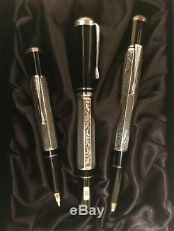 Montblanc Marcel Proust 3 pc Set Fountain Pen Ballpoint Pencil Year 1999 New