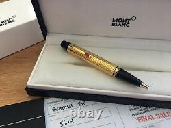 New Box Montblanc Boheme Gold Plated Rouge Ruby Ballpoint Pen BP 5814 SOLITAIRE