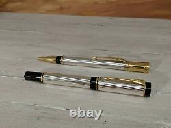 PARKER Duofold Sterling Silver Rollerball and Ballpoint Pen Set, NEAR MINT