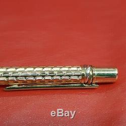 Rare Vintage Authentic Cartier Ballpoint Pen Trinity Gold Plated Wavy Pattern