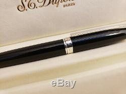 S. T. Dupont Fidelio Anthracite Lacquer & Silver Plated Ballpoint Pen, NOS