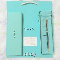 TIFFANY & Co. Ballpoint Pen T clip Silver × Gold with Box New