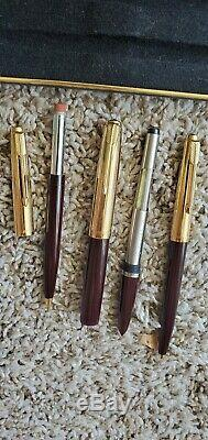 Vintage Parker 51 Custom Trio of Fountain Pen + Ball Point + Pencil withCase. New