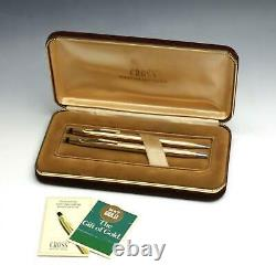 Vintage SOLID 14K Gold Cross Ballpoint Pen & Mechanical Pencil Set with Box MINTY