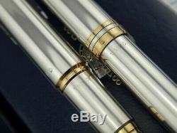 WATERMAN Man 100 Smooth Satin Solid Sterling Silver Fountain Pen & Ballpoint Pen